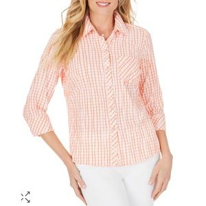 Foxcroft Crinkle Texture Tattersall Shirt